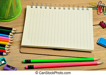 Notebook with school accessories