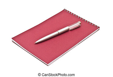 Notebook with silver pen, isolated on white