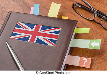 Notebook with the flag of the UK