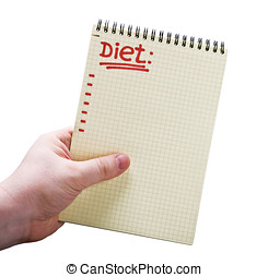 notebook with the text of diet in hand