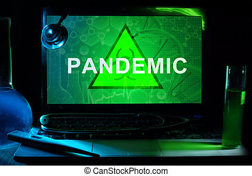 pandemic - Notebook with words pandemic, test tubes and...