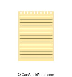 notebook yellow lined paper sheet- vector illustration