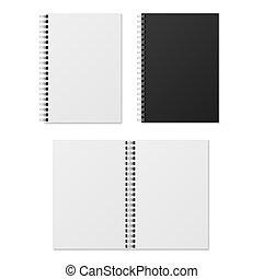 notebooks., 閉じられた, らせん状に動きなさい, 隔離された, ペーパー, 現実的, つなぎ, ベクトル, 日記, notebook., ブランク, 組織者, 開いた, テンプレート