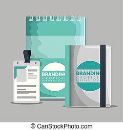 notebooks with license business branding product vector...