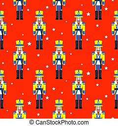 notekraker, speelbal, rood, kerstmis, seamless, vector, pattern.