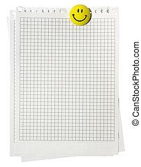 notepad, 格子花呢, 頁, 由于, 黃色, 微笑, 磁鐵, 被隔离, 在懷特上, 背景。, 剪, path.
