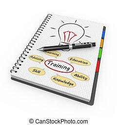 notepad, 訓練, 概念
