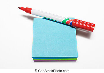 notepad #3 - Red fiber tipped pen and sticky pad