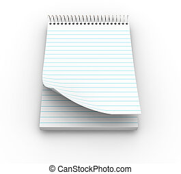 Notepad - 3D render of a lined notepad
