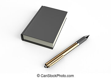 notepad and ball pen  isolated on white background