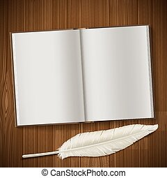 Notepad and feather lie on a wooden table.