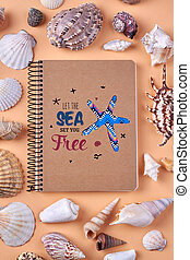 Notepad and many seashells flat lay.