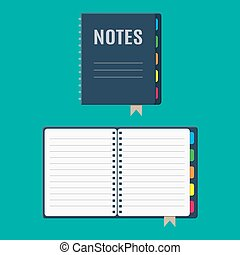 Notepad and paper sheets with bookmarks