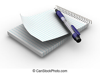 3D render of notepad and pen