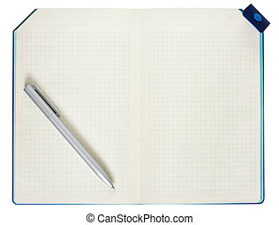 Notepad and pen isolated on white background