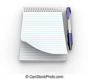 Notepad and pen - 3D render of a notepad and pen
