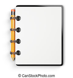 notepad and pencil isolated on white background. 3d rendered image