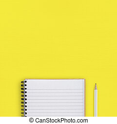 Notepad and pencil on yellow background top view