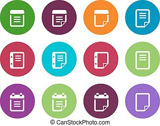 Notepad and sticky note circle icon set.