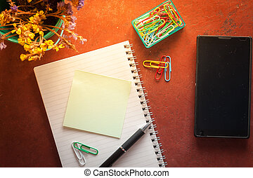 notepad and sticky paper