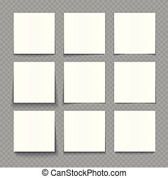 Notepad blank sheets of white paper with shadow effects vector illustration