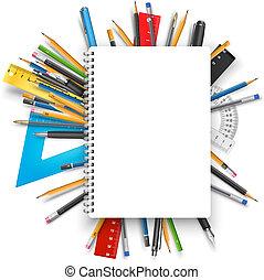 notepad, canetas
