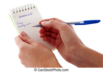 Notepad - Christmas List - already started - An isolated to ...
