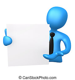 Notepad - 3d business person holding a notepad .