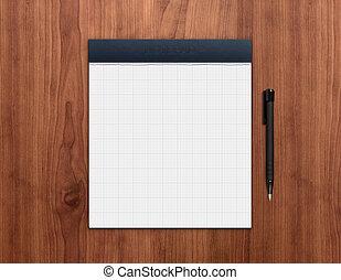 notepad, com, caneta, escrivaninha