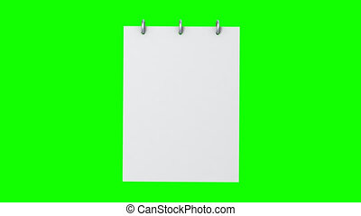 notepad, com, um, página virando