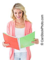 notepad, estudante, atraente, leitura