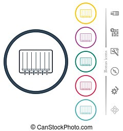 Notepad flat color icons in round outlines