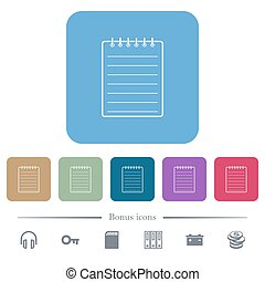 Notepad flat icons on color rounded square backgrounds