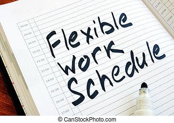 notepad., flessibile, segno, lavoro, orario