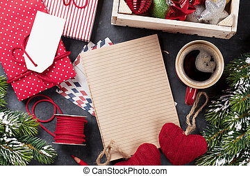 Notepad for christmas letter, gift box wrapping