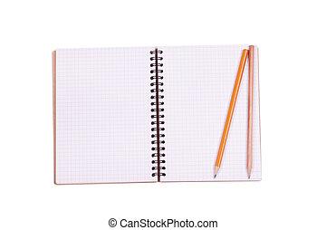 Notepad on white background