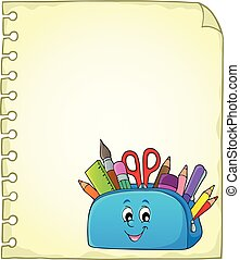 Notepad page with happy pencil case