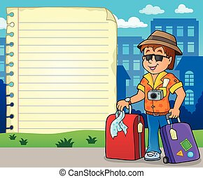 Notepad page with tourist