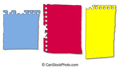notepad, papel, jogo, pedaços
