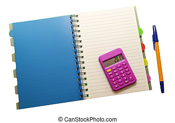 Notepad, pen and calculator on white isolated background