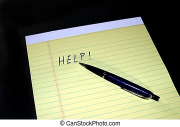 Notepad Pen Help - Yellow notepad with the text HELP and a...