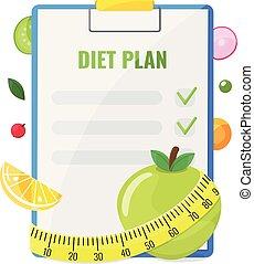 notepad, plan, dieet