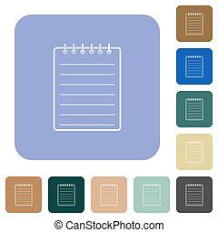 Notepad white flat icons on color rounded square backgrounds