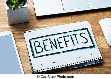 notepad, segurança, conceito, benefícios, social