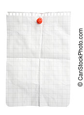 Creased notepad sheet attached with pushpin isolated on white background with clipping path
