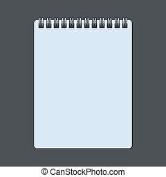 notepad, spiraalvormig notitieboekje, vrijstaand, realistisch, vector, dark.