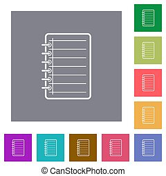 Notepad square flat icons