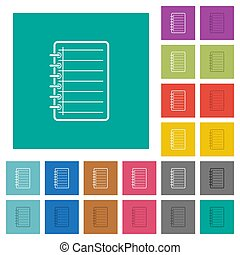 Notepad square flat multi colored icons