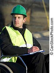 notepad, supervisor, bouwterrein, schrijvende