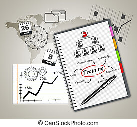 Notepad training concept - Training concept illustration...